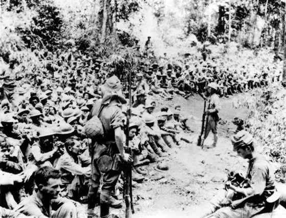 U.S. troops in Japanese captivity after the fall of Bataan. Thousands of Americans spent the war in enemy camps in the Philippines. As Allied forces began to retake the islands, Tokyo ordered the prisoners butchered. (Image source: WikiCommons)