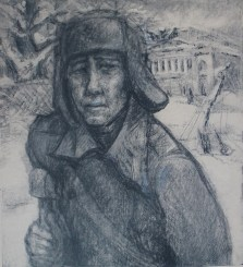 Mikhail Lapshin, pictured here, was a friend of the artist. He was killed in action in 1943. (Image source: Darwin College)