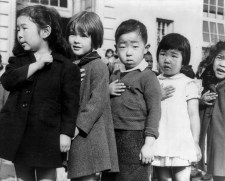 Japanese children recite the Pledge of Allegiance. (Image source: WikiCommons)