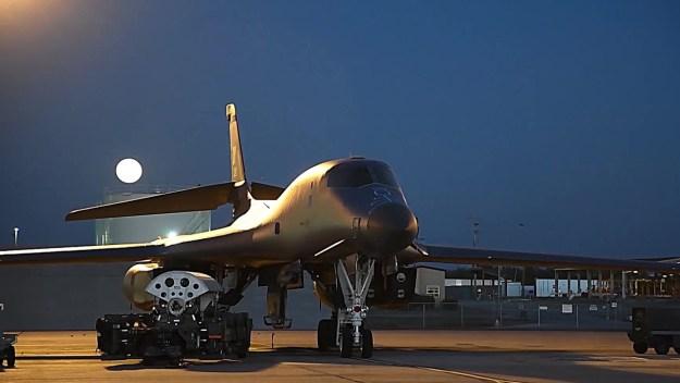 B-1 Bombers Nighttime Ordnance Load And Takeoff