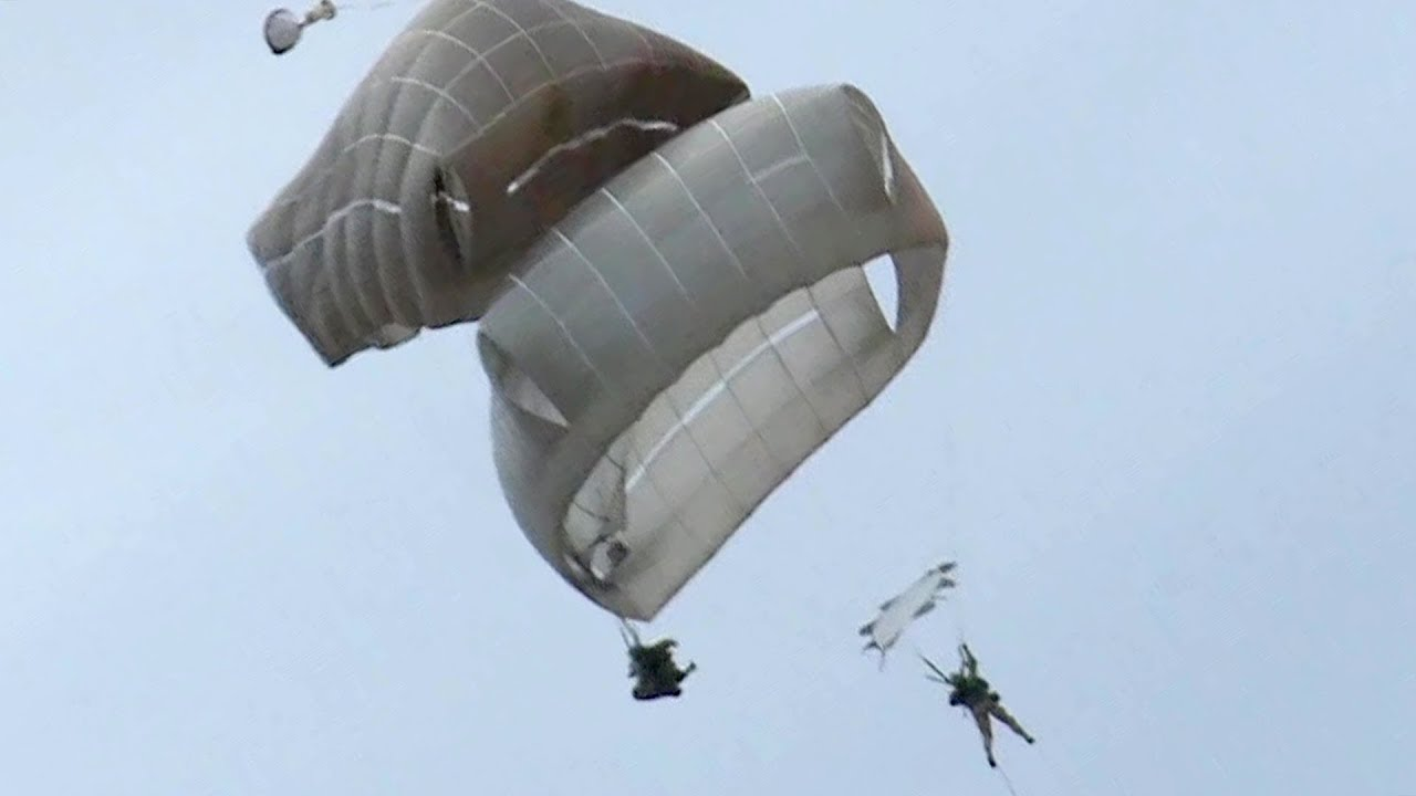 Paratroopers Mid-Air Collision CLOSE CALL
