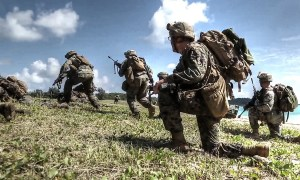 Simulated Amphibious Assault On Okinawa, Japan