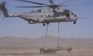 CH-53 Helicopter Air Lift Humvee and Howitzer