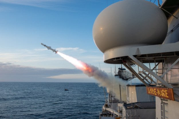 Belgian Navy Frigate Louise-Marie (F931) Fires Harpoon Missile