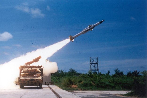 Akash missile being test fired from Integrated Test Range (ITR), Chandipur, Odisha