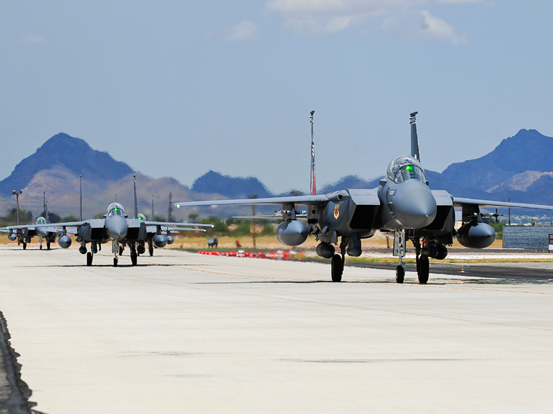 The Republic of Singapore Air Force F-15SG continue training in US Air Force Base