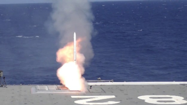 JS Ise (DDH 182) Missile Launch During RIMPAC