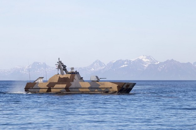 Royal Norwegian Navy Skjold-class Corvette fires Naval Strike Missile