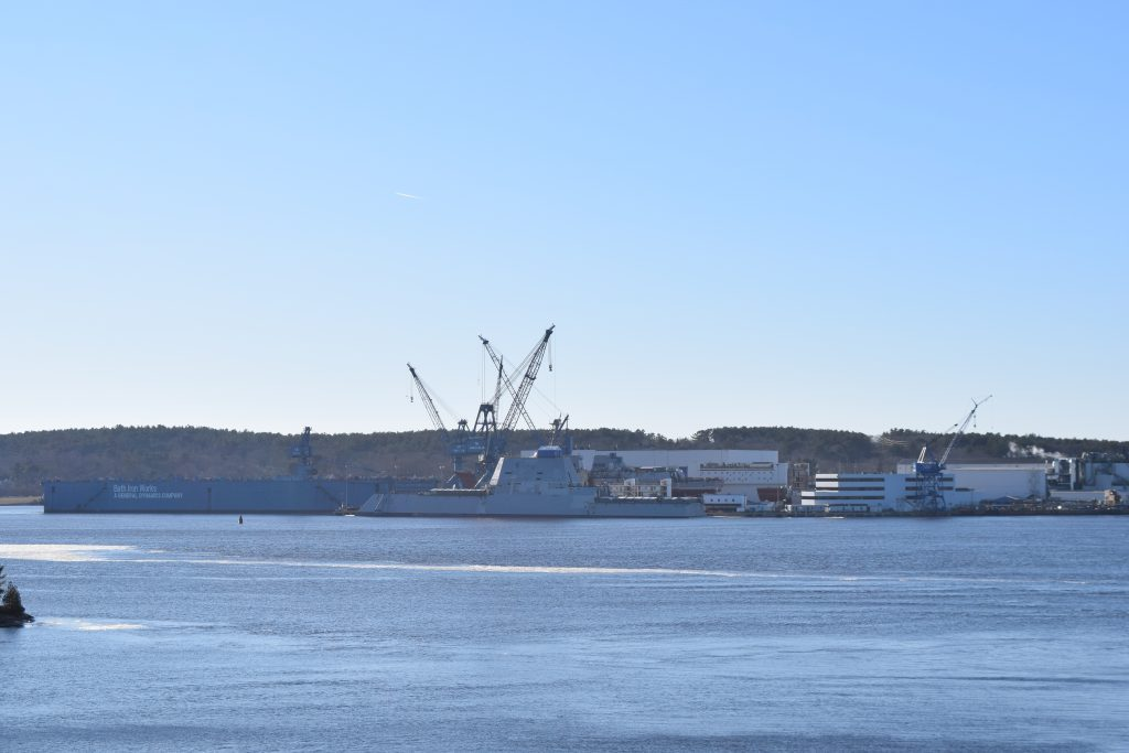 Zumwalt-class destroyer USS Lyndon B. Johnson (DDG 1002) Launched at Bath Iron Works