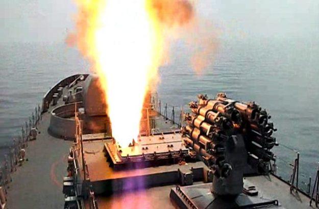 Indian Navy frigate INS Tabar firing Kalibr missile