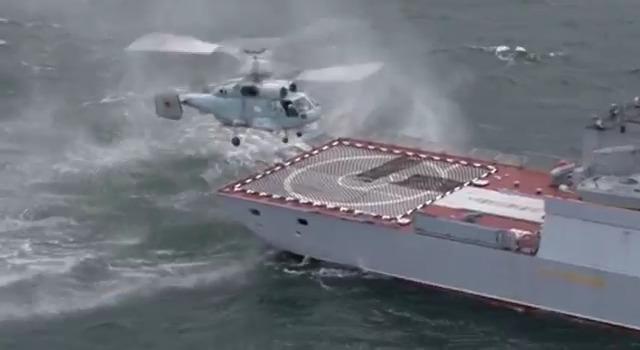 Russian Navy Ka-27 Helix practise deck landing