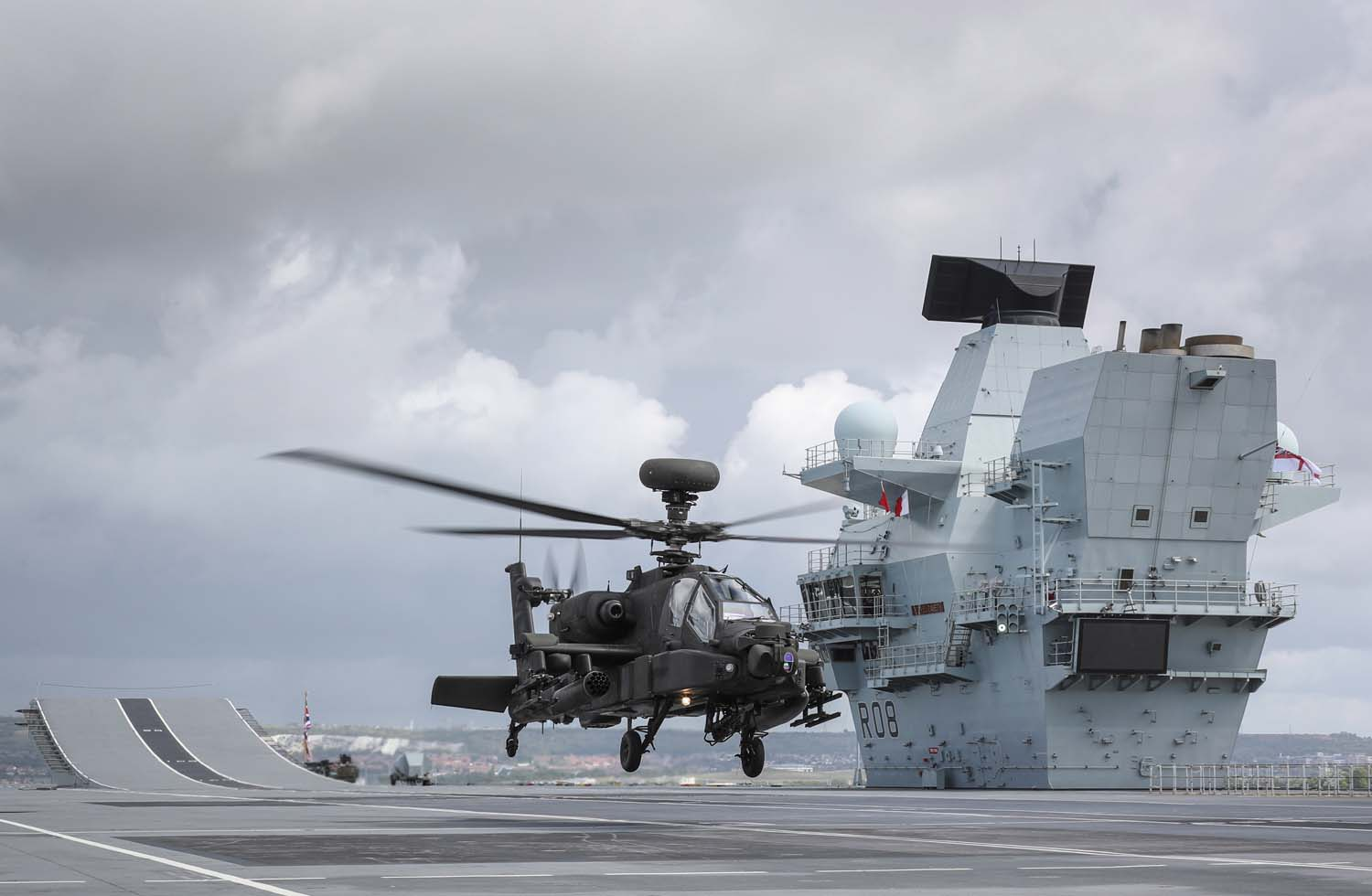 Apache AH Mk 1 Attack Helicopter join HMS Queen Elizabeth for trials
