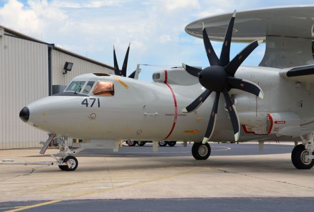 Japan's First E-2D prepares to take flight at the Northrop Grumman Aircraft Integration Center of Excellence in St. Augustine, Florida.