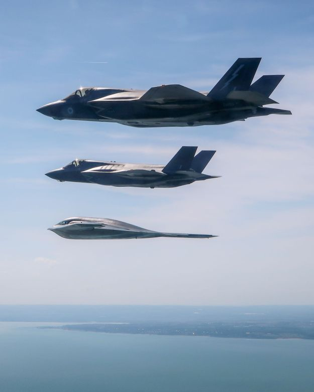 UK F-35 Lightning Jets Train with USAF B-2 Stealth Bomber