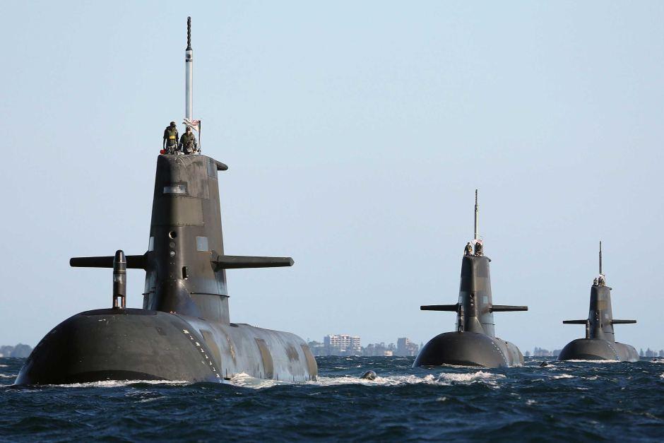 Collins class submarines HMAS Dechaineux, HMAS Waller and HMAS Sheean.