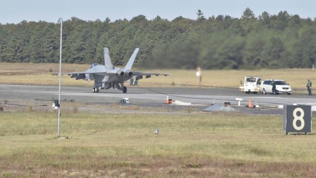 Air Test and Evaluation Squadron (VX) 23 conducts Advanced Arresting Gear (AAG) testing with five F/A-18E/F Super Hornets in Lakehurst, New Jersey. For the first time, AAG reached a milestone with 22 aircraft arrestments in just over 26 minutes.