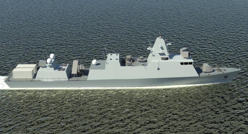 A computer-generated image of the preliminary design of the Reshef-class corvette, which Israel Shipyards is designing to replace the Israeli Navy's Sa'ar 4.5 corvettes currently in service