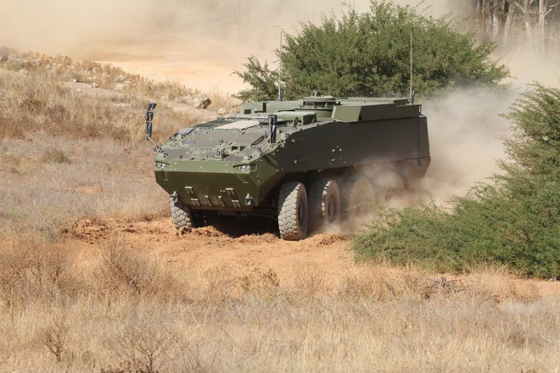 A prototype of the 8x8 Dragon vehicle in the San Gregorio maneuvering ground near Zaragoza. Spain's defense ministry has rejected Santa Barbara's offer to produce the vehicles, and is expected to shortly re-open the competition.