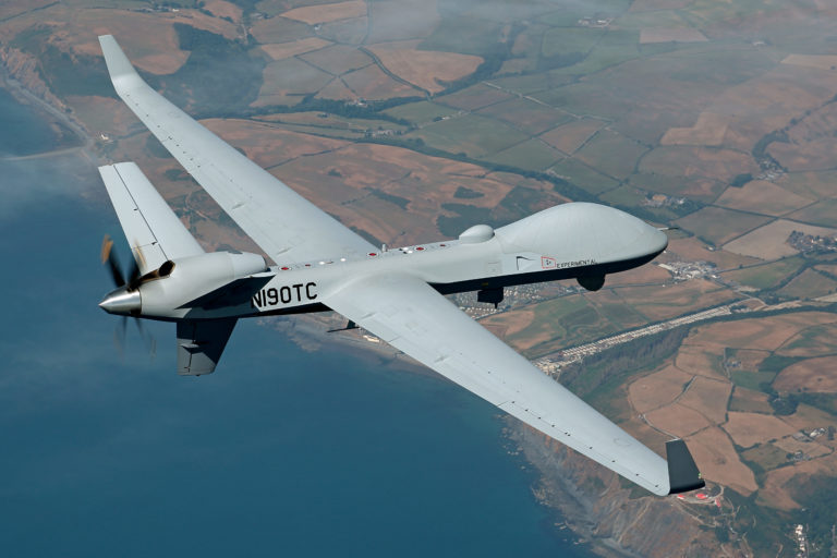 The MQ-9B SkyGuardian, designed by General Atomics Aeronautical Systems, Inc., has a range of over 6,000 nautical miles and is equipped with nine hard-points for sensor or weapons carriage with over 4,000 pounds of available payload. GA-ASI Photo