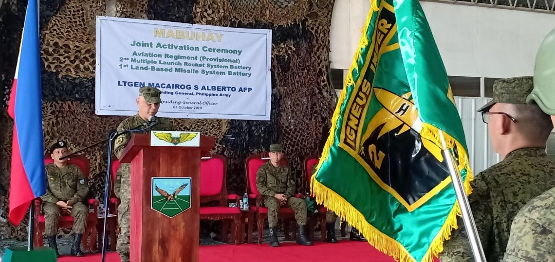 Philippine Army activates the 2nd Multiple Launch Rocket System Battery, along with Army Aviation Regiment and 1st Land-Based Missile System Battery