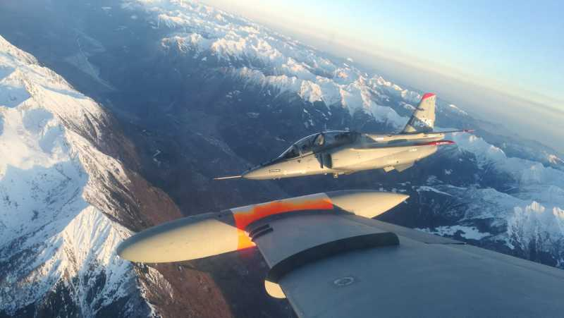 The Italian air force's new Leonardo (Aermacchi) T-345A jet trainer photographed from an MB-339 jet trainer that it is due to replace during the first evaluation flights by the air force's flight test unit.