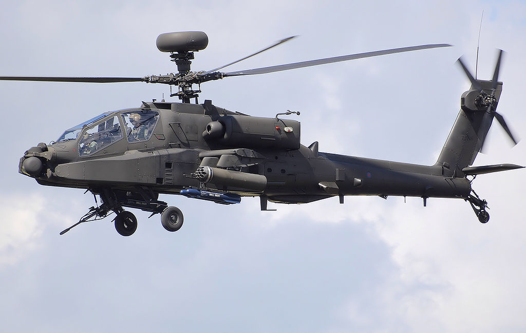 British Army Air Corps Westland WAH-64D Apache Longbow displays at a UK airshow