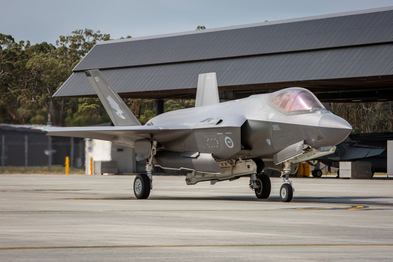 F-35A Lightning II A35-003 arrives at  Royal Australian Air Force (RAAF) Base Williamtown.