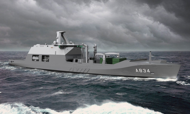 An artist's impression of the second combat support ship, Zr.Ms. Den Helder, which the Dutch Cabinet approved for construction on Dec. 19; her design will be based on that of the Dutch Joint Support Ship Zr.Ms. Karel Doorman.