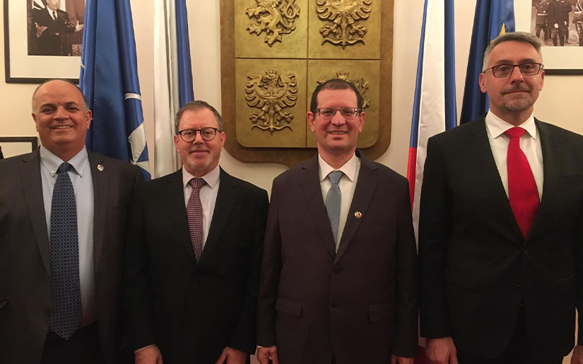 From Right to Left: Czech Ministry of Defence, Lubomir Metnar; Director of SIBAT, Brig. Gen. (Ret.), Yair Kulas; Israeli Ambassador to the Czech Republic, Daniel Meron; IAI VP and CEO of ELTA, Yoav Tourgeman