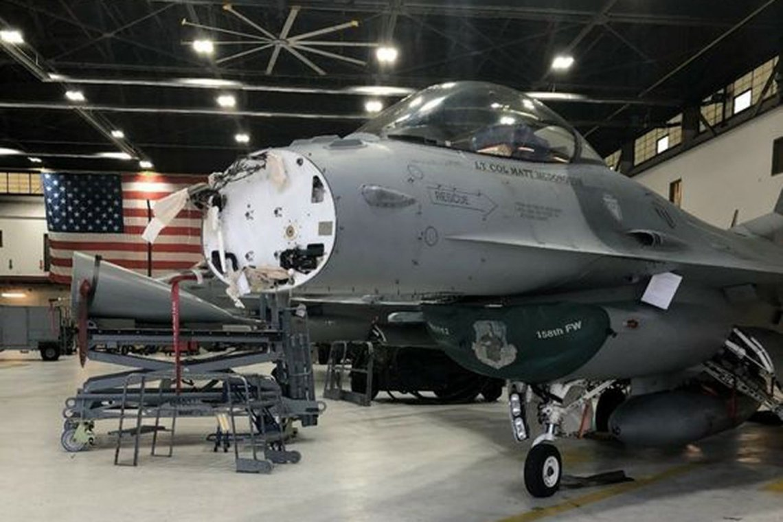 Northrop Grumman's APG-83 radar being installed in an Air National Guard F-16 at Joint Base Andrews, Maryland.