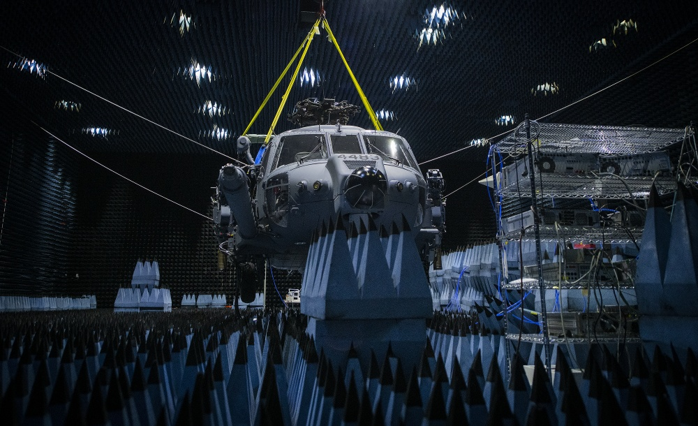 HH-60W Helicopter Enters Chamber for Defense Systems Testing