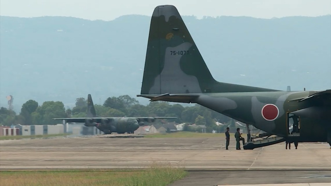 Japan Air Self-Defense Force (JASDF) C-130s transport planes