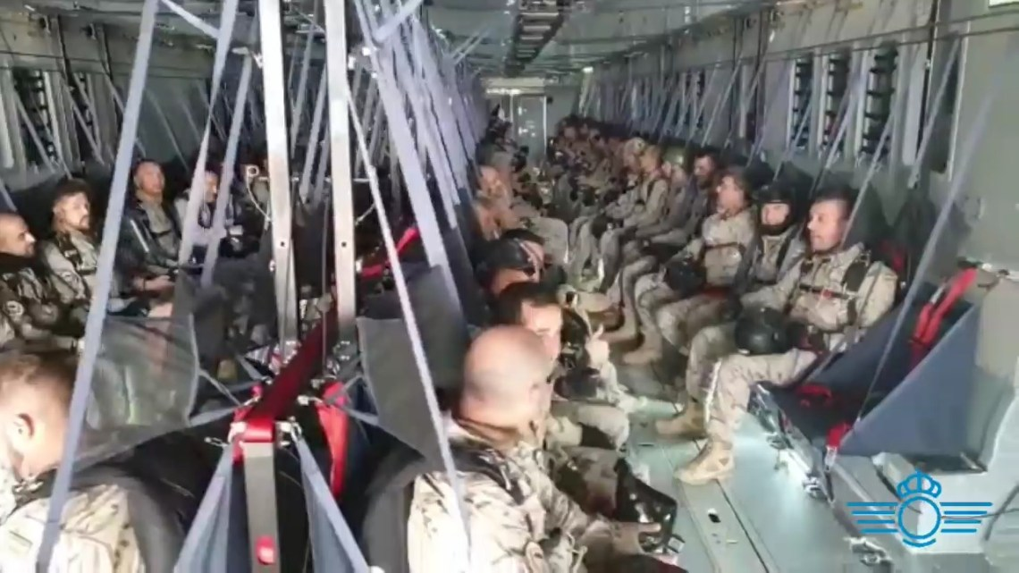 Spanish Airbus A400M Atlas Drops 114 Paratroopers to Mark Anniversary
