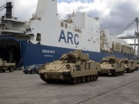 U.S. Army M2 Bradley fighting vehicles are lined up prior to loading onto American Roll-On Roll-Off Carrier Endurance heading out for DEFENDER-Europe 20 on Feb. 5, 2020, in Savannah, Ga.