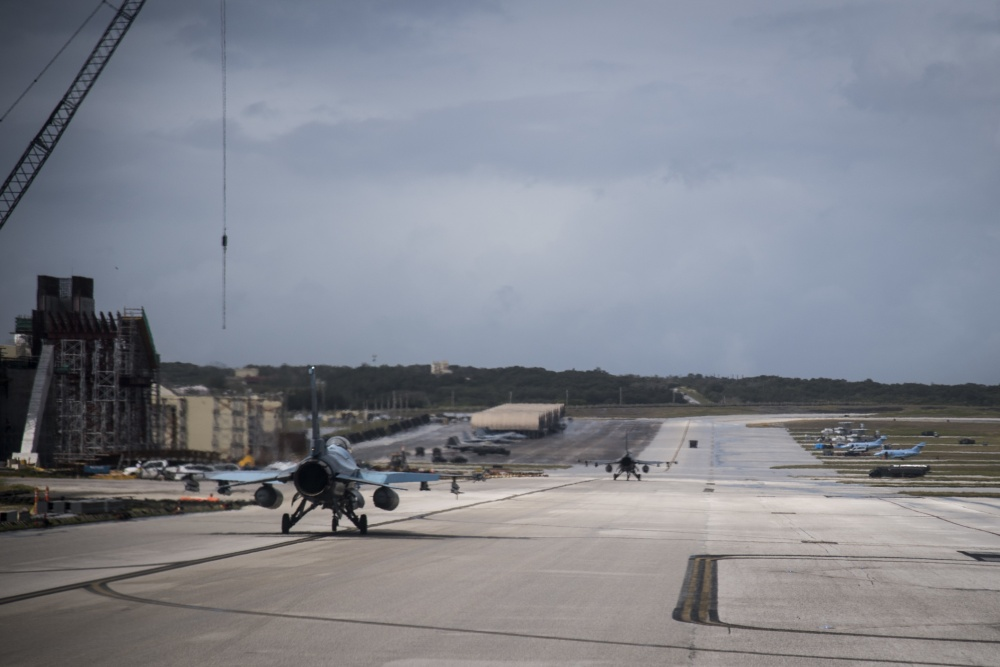 A U.S. Air Force F-16C Fighting Falcon, assigned to the 18th Aggressor Squadron, Eielson Air Force Base, Alaska, taxis down the flightline upon return from a training sortie during exercise COPE North, at Andersen Air Force Base, Guam, Feb. 19, 2020. (U.S. Air Force photo by Master Sgt. Larry E. Reid Jr.)
