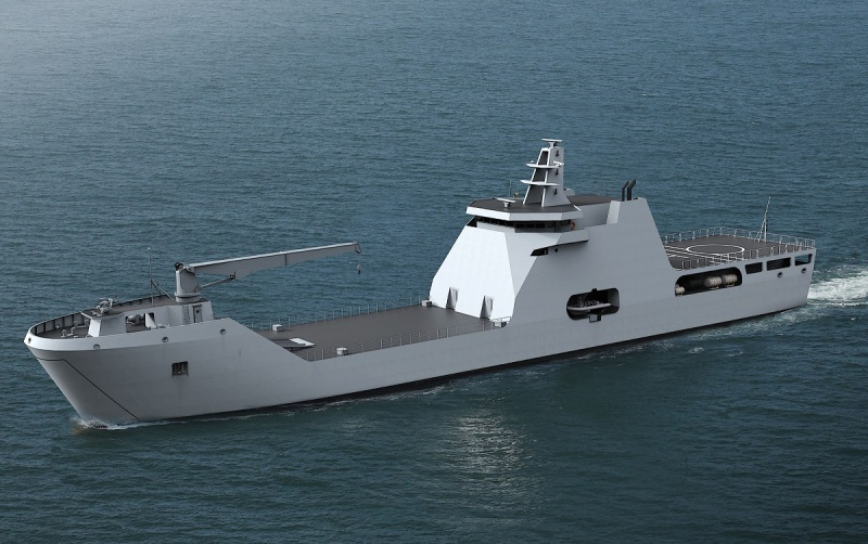 A computer-generated image of the Nigerian Navy's future Landing Ship, Tanks