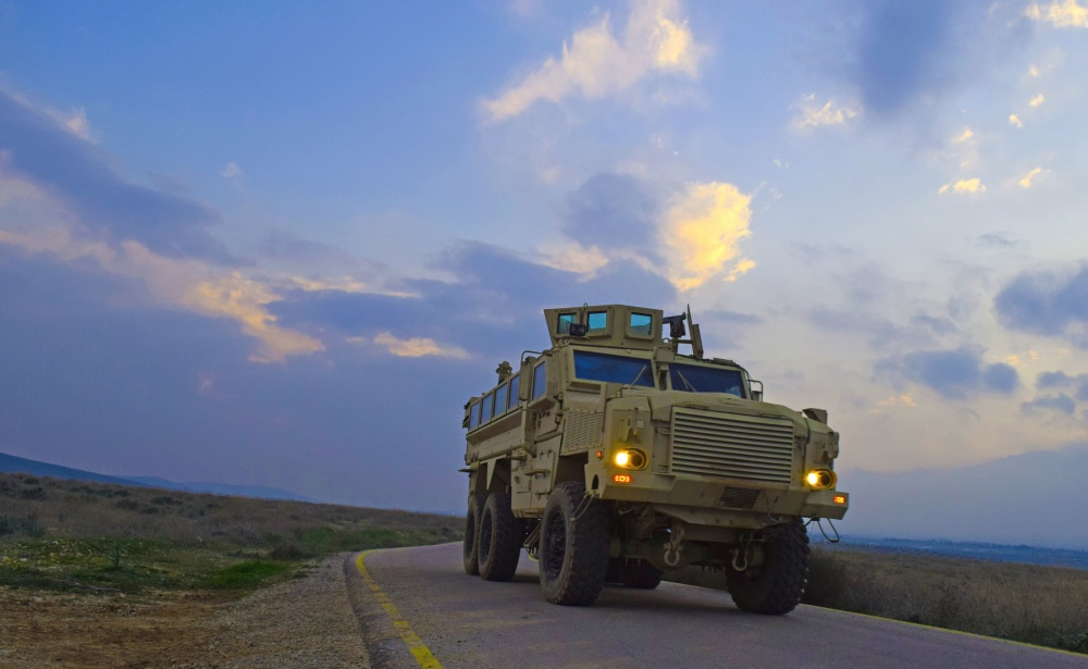 A Jordan Armed Forces-Arab Army (JAF) Soldier practices driving a Mine Resistant Ambush Protected Wheeled Armored Vehicle during a Subject Matter Expert Exchange.