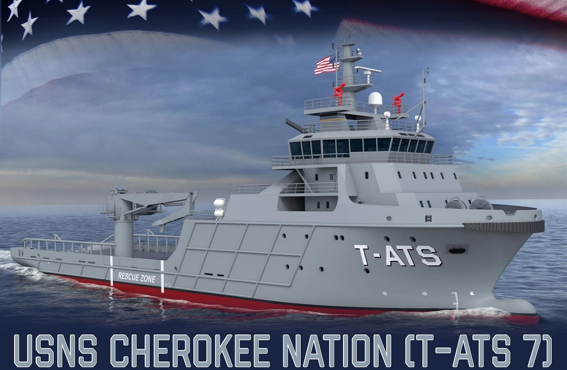 An artist rendering of the future USNS Cherokee Nation (T-ATS 7).