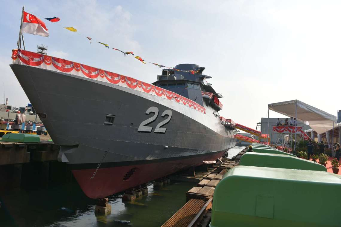 Republic of Singapore Navy Littoral Mission Vessel RSS Fearless (22) at ST Engineering's Benoi Shipyard.