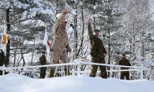 U.S. Marines and Soldiers from Japan Ground-Self Defense Force Participate in the Opening Ceremony at Northern Viper 2020