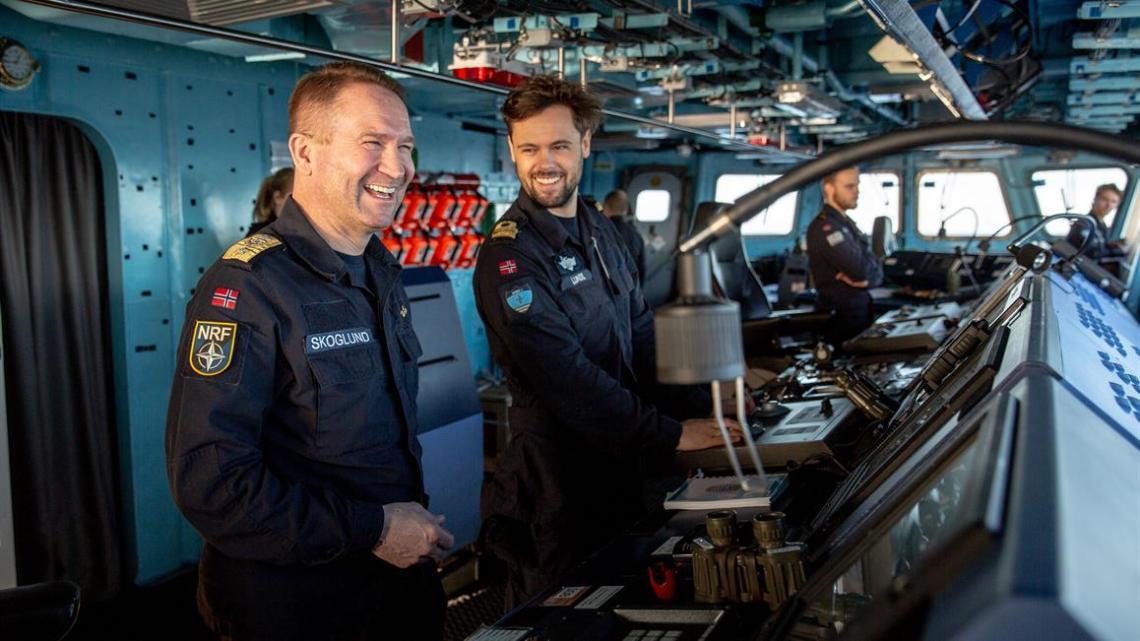 Chief of SNMG1, Commodore Yngve Skoglund on the bridge along with navigator Martin Lunde.