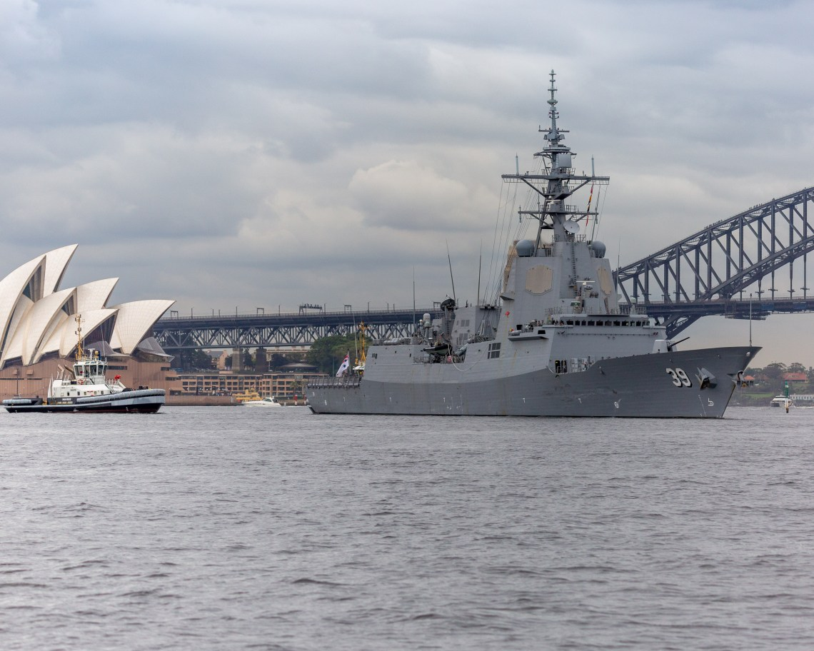 HMAS Hobart departs Fleet Base East, Garden Island for the Royal Australian Navy's Fleet Certification Period, 2020.