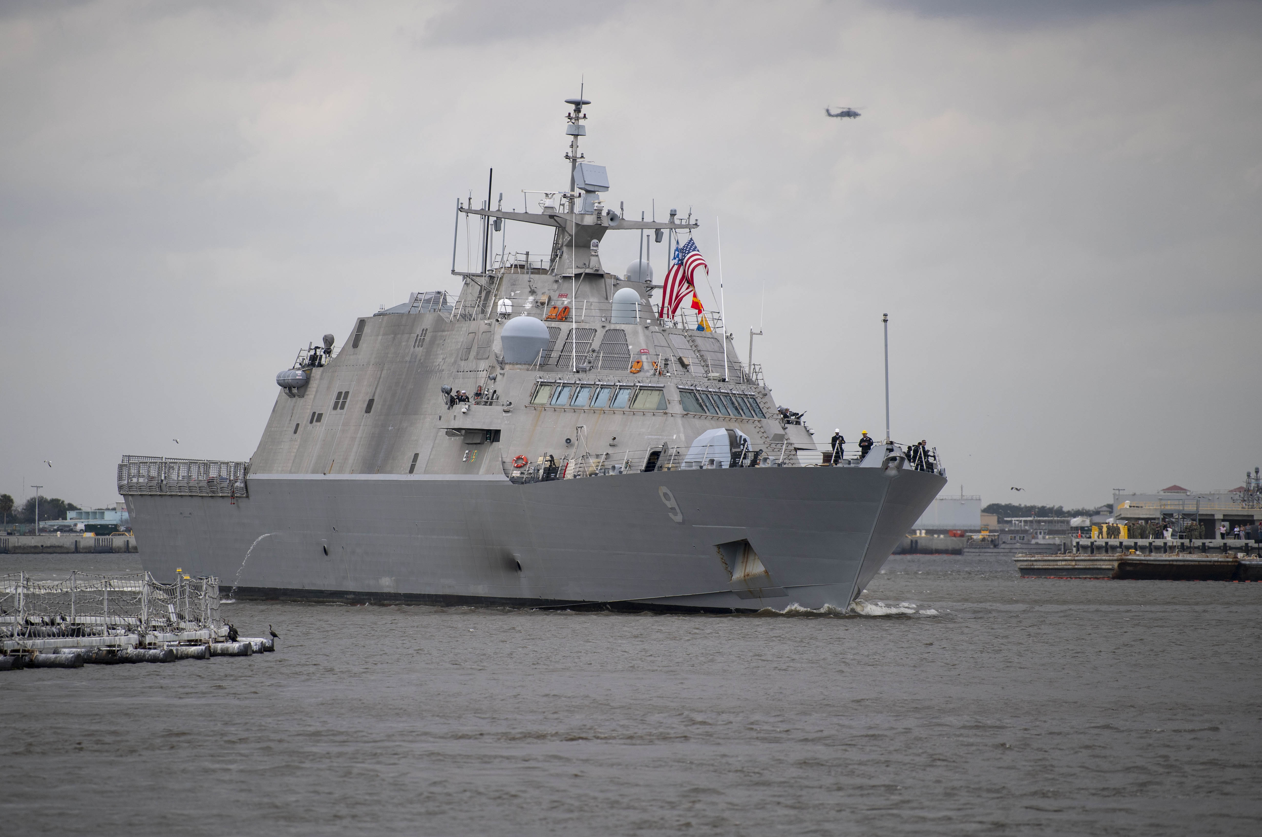 The Freedom-variant littoral combat ship USS Little Rock (LCS 9) departs Mayport, Fla. for the ship's maiden deployment.