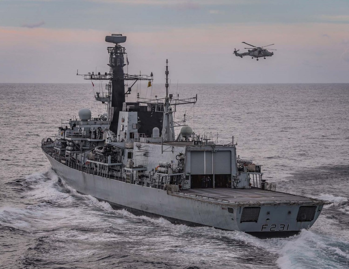 HMS Argyll has been shadowing seven Russian ships alongside eight other Royal Navy vessels in UK waters