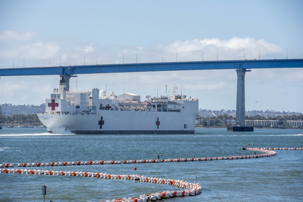 Military Sealift Command hospital ship USNS Mercy (T-AH 19) departs Naval Base San Diego, March 23.