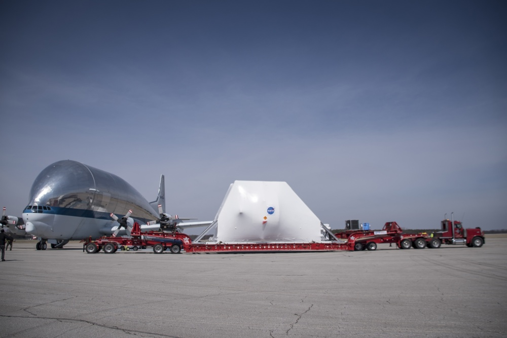NASA's Aero Spacelines Super Guppy loads the Orion spacecraft at Mansfield-Lahm Regional Airport March 23, 2020.