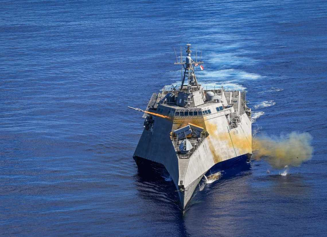The USS Gabrielle Giffords (LCS 10) launched Naval Strike Missiles (NSM) in 2019 during Pacific Griffin, a biennial exercise conducted near Guam.