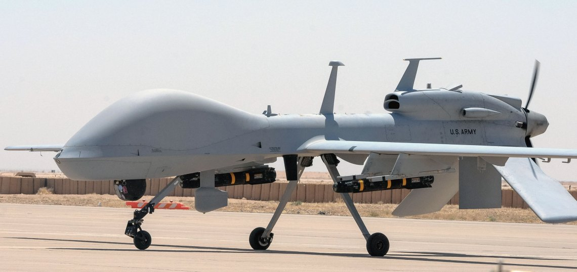 An MQ-1C Gray Eagle unmanned aerial system, equipped with 3rd GEN FLIR sensors, prepares to conduct a mission from Al Asad Air Base, Iraq.