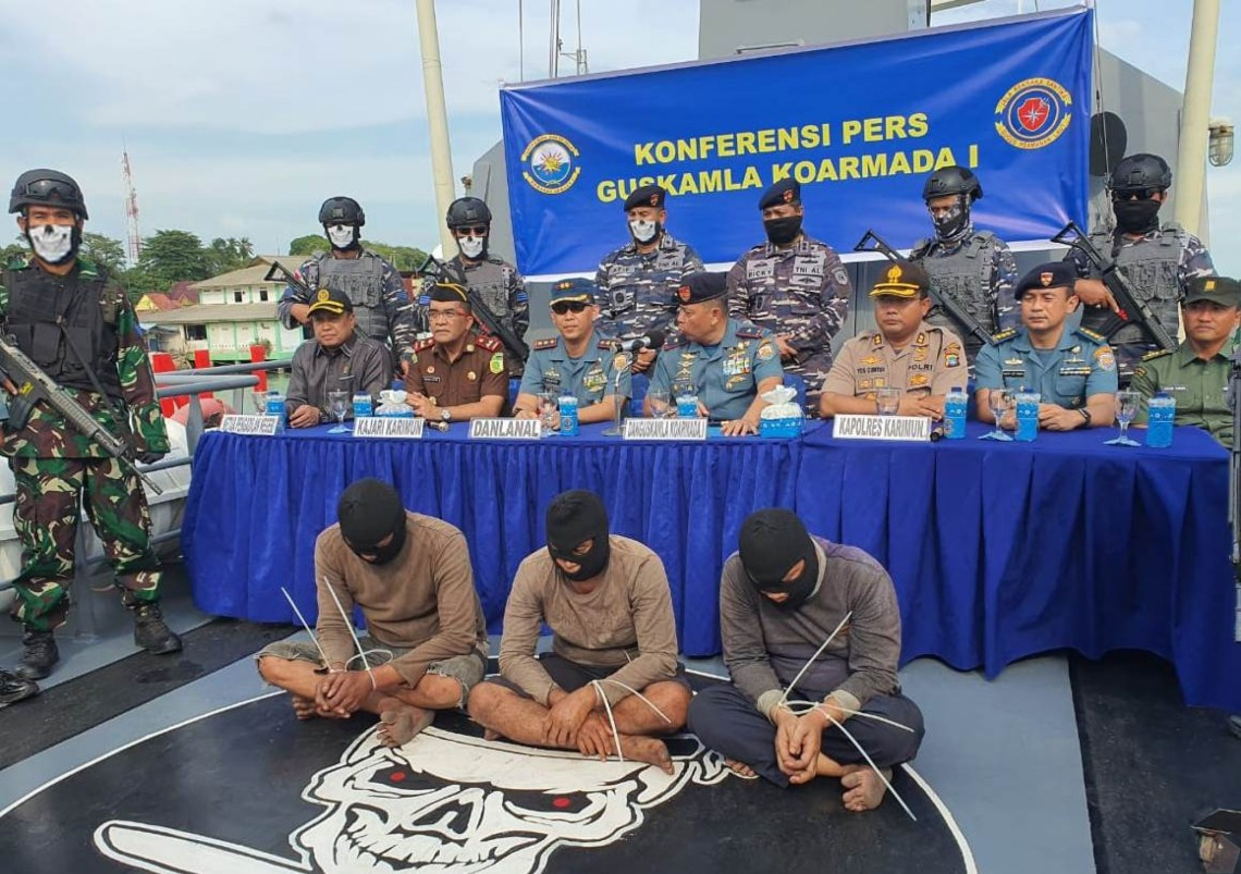 Indonesian Navy VBSS (Visit, board, search, and seizure) boarded the vessel and arrested the three robbers.