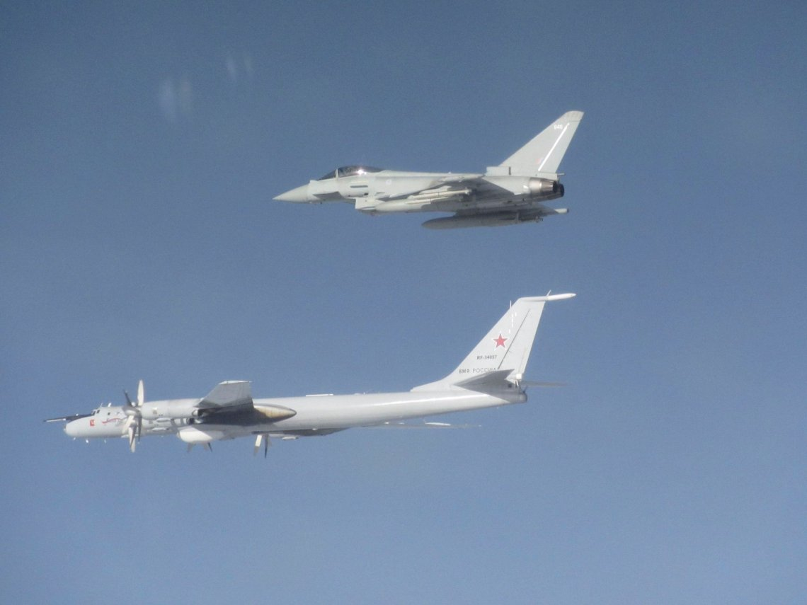 Royal Air Force Quick Reaction Alert Typhoon intercept Russian aircraft approaching UK Air Space on the 7th March 2020.